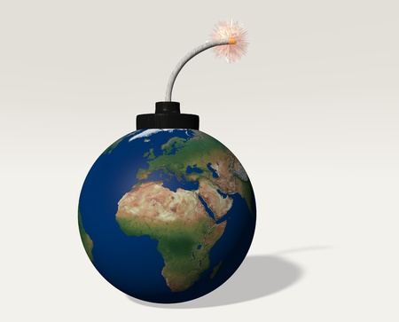 The world  is represented as a bomb with a lit fuse and has in foreground europe and africa photo