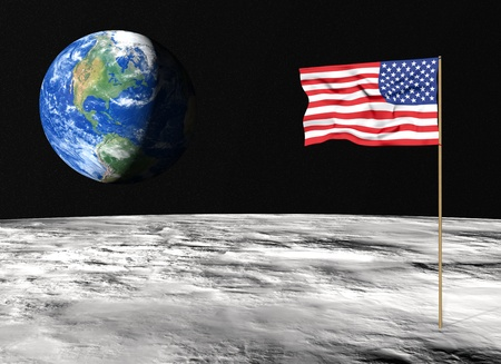 moon  desert: closeup of the American flag on the lunar surface with the planet Earth in the background