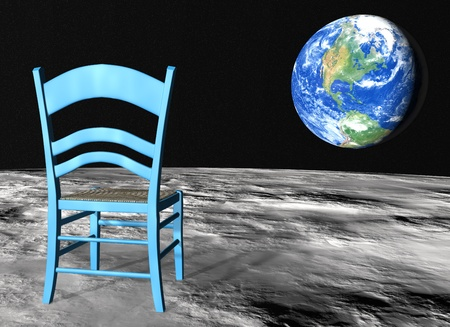 closeup of a blue chair on the lunar surface oriented toward the planet earth Stock Photo - 13006887