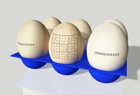 group of 6 stamped eggs, one with sudoku, in a blue egg cups