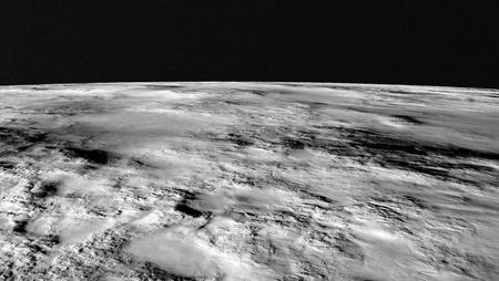 primo piano della superficie lunare con un contrasto di luci e ombre che si distinguono per terra Archivio Fotografico - 13006881