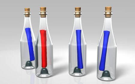 three blue messages and a red one in the transparent and closed bottles Stock Photo
