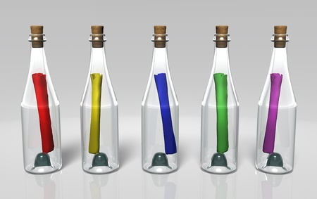 five transparent closed bottles arranged in a row with different colored messages into them