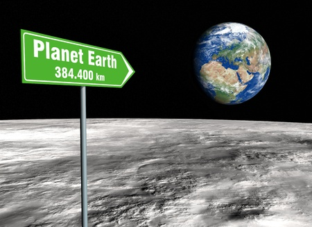 Green signpost on the lunar surface indicating the distance remaining from the planet earth Stock Photo