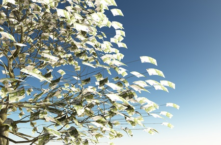 close up of a tree with 100 euro bills instead of the leaves on the left and the blue sky on background