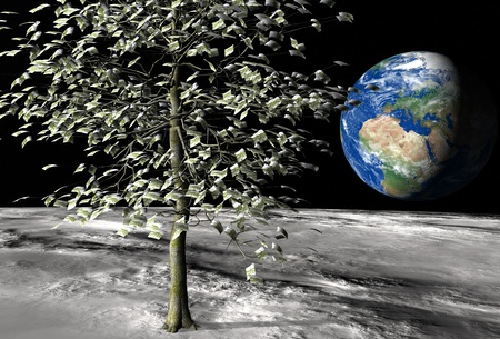 money tree on the moon surface with € 100 bills instead of leaves and the planet earth on the background photo