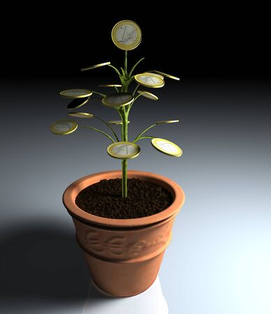 A little tree with one euro coin instead of leaves, planted in a vase, is illuminated by a dim light coming from the right side photo