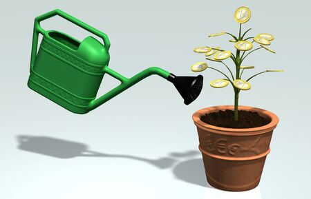 A little tree with one euro coin instead of leaves, planted in a vase, is watered by a green watering can photo