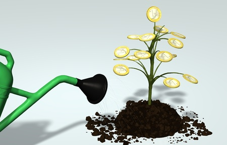 watered: A little tree with one euro coin instead of leaves, planted in a lump of soil, is watered by a portion of watering can on a neutral background