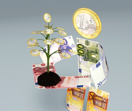 a character made of euro banknotes brings in its hands a small one euro tree planted on little soil