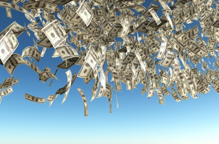 a dense rain of one hundred dollars banknotes is coming down from a blue clear sky Stock Photo - 13717516