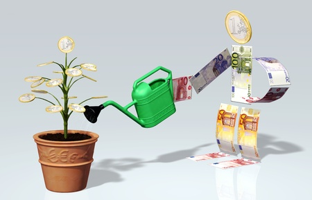 A small tree with one euro coin instead of leaves in a vase, is watered with a watering can by a character man made by euro banknotes and one euro coin as his head photo