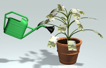 A small tree with 100 euro banknotes instead of leaves, planted in a vase, is watered by a green watering can Stock Photo - 13717518