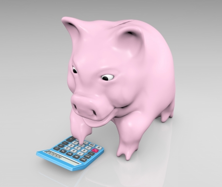 a happy pink piggy is typing in on a keyboard of a blu calculator Stock Photo