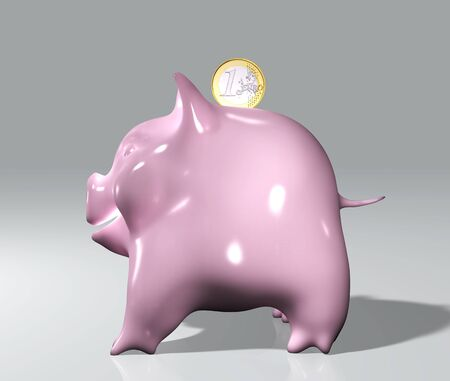 insertion: a happy pink piggy in a side view with one euro coin that is going inside from the top
