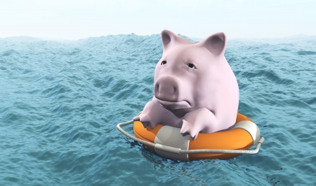 a sad pink piggy hold on a life preserver is in the middle of a rough sea in a misty day