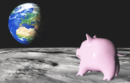 from the moon surface a sad pink piggy in foreground is looking with homesickness the planet earth placed in background Stock Photo - 16704517