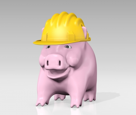 a happy pink piggy bank is wearing a yellow construction helmet to protect himself