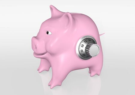 a happy pink piggy bank that has a metal knob of combination on his left side stays on a reflected floor with a neutral background Stock Photo - 17315765