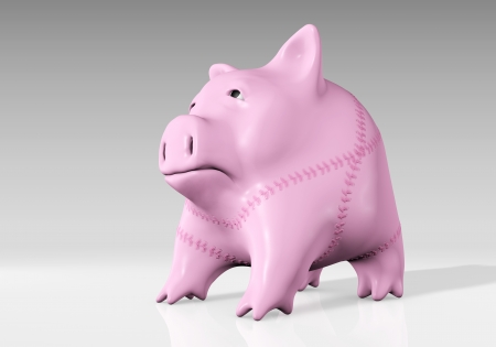 conspicuous: a sad and pink piggy bank full of conspicuous seams is watching towards the upside looking for a sign of compassion Stock Photo