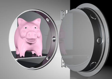 heavy metal: a pink piggy bank is smiling from inside a heavy metal safe with a circular door on a dark background