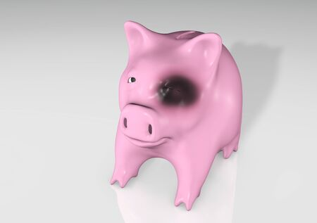 a sad and aching pink piggy bank with a close black eye stays in front of the camera on a reflecting floor Stock Photo - 17315766