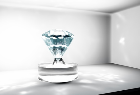 light source: a closeup of a big diamond placed on a cylindrical support made of glass which is located in a safe, with a light source on the left side