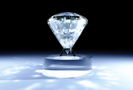 a closeup of a big diamond placed on a cylindrical support made of glass, with some light reflections on the floor and a black background Stock Photo - 18373388