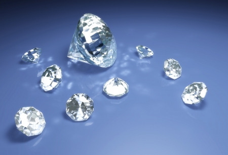 a closeup of a group of eight small diamonds and a bigger one are lying down on a blue surface with some reflections of light around them Stock Photo - 18373424