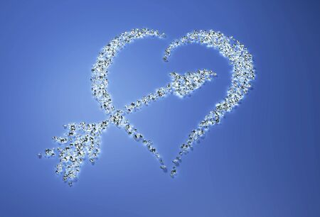 a group of many small diamonds have been put together to form a shape that represents a heart with a arrow inside it on a blue background Stock Photo