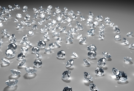 disposition: many diamonds of different size and in a random disposition are lying on a grey floor, with a light over them that fades to dark in the distance