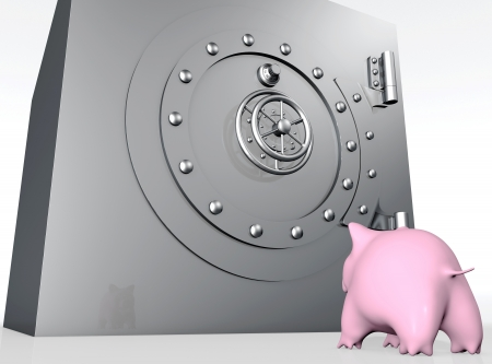 envy: a bottom view of a pink piggy bank that is watching with envy or surprise a metal big safe with a rounded closed door