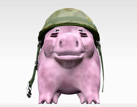 a bottom view of a dirty pink piggy bank with a unfastened mimetic helmet on his head