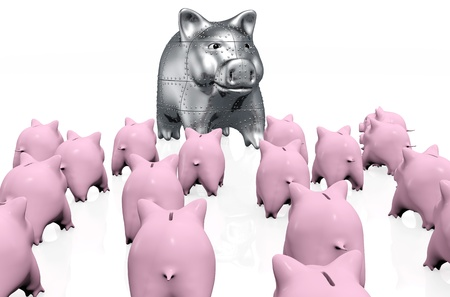 viewed from behind: a small crowd of pink piggy banks viewed from behind at random mode stand in front a big armored piggy bank on a white background