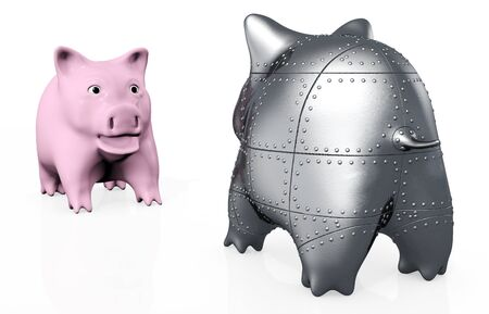the stranger: a standard pink piggy bank has an astonished expression because in front of him stands a stranger armored piggy bank viewed from behind