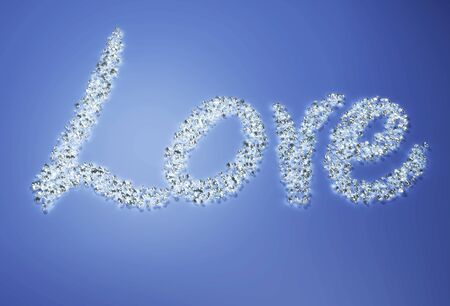 a group of many small diamonds have been put together to form the written  love  on a blue background Stock Photo - 18674356