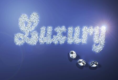 a group of many small diamonds have been put together to form the written  luxury , while three bigger ones are put under it as a decor  All on a blue background