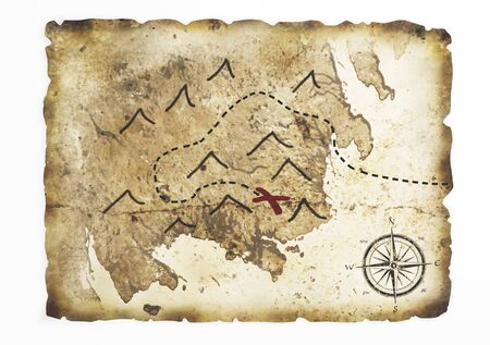 a old ruined stretch sheet with a treasure map drawn on it lies on a white background