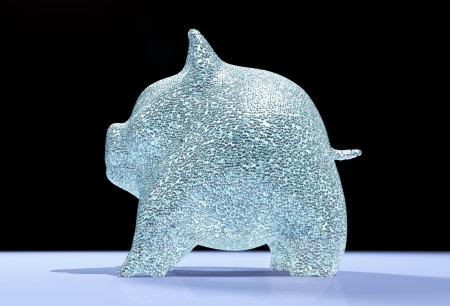 a viewed in profile of a piggy bank studded with small diamonds that stands on a blue floor and black background Stock Photo - 18674455