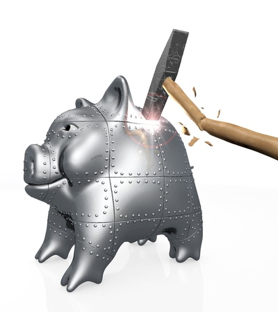 enhancement: an armored piggy bank with confident attitude is hit by a hammer, the power of the hit that makes a flash of light breaks the hammer instead of the piggy bank