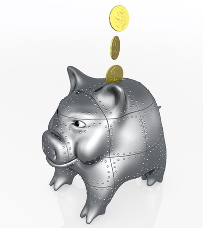 three golden coins are falling inside an armored piggy bank with a confident attitude on a white background photo
