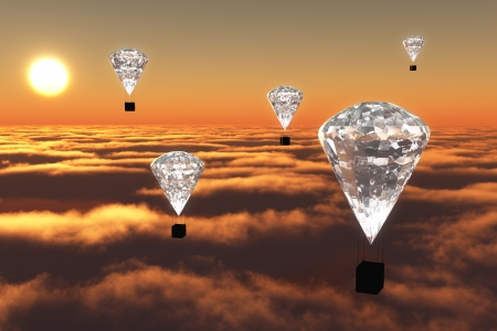 a group of five hot-air balloons which have a diamond instead of the classic balloon, are flying over clouds in the red colour of twilight with the sun on background