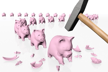 a group of some pink piggy banks in orderly queue, one by one are waiting the hit of a ruined giant hammer, all on a white background
