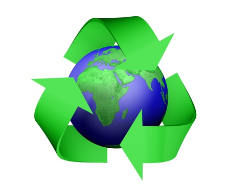 a 3D rendering of a green recycle icon that is covering earth with green lands, isolated on a white background Stock Photo