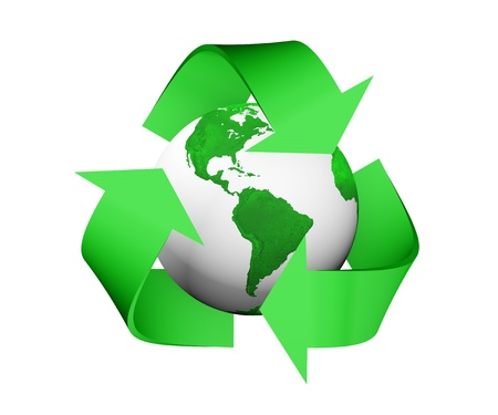a 3D rendering of a green recycle icon that is covering earth with green lands and white seas, isolated on a white background Stock Photo - 18983037