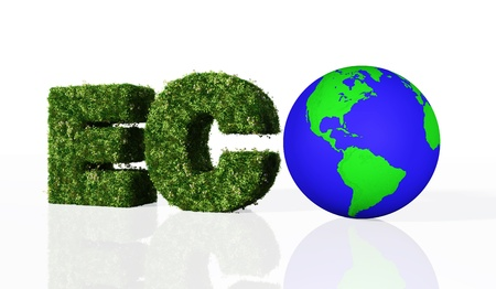 a view of the eco word composed from the letters E and C that are covered by grass and flowers, and the letter O that has been replaced by a blue and green world Stock Photo - 19358804