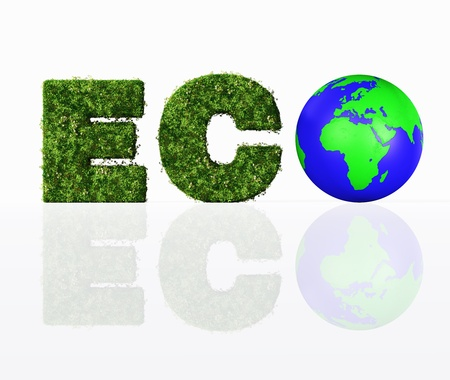 a front view of the eco word composed from the letters E and C that are covered by grass and flowers, and the letter O that has been replaced by a blue and green world Stock Photo - 19358801