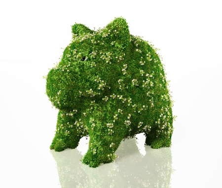 a piggy bank is fully covered except the eyes with grass and flower, on a white background
