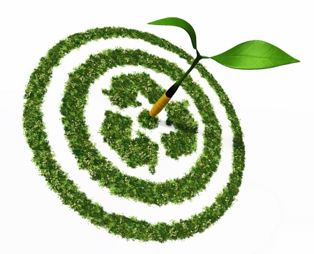 a view of a dartboard made by grass and flowers with a recycling symbol in the center, shows a perfect shot of a dart formed by a small plant with two leaves on a white background