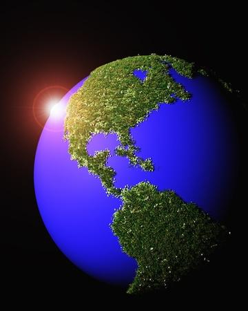 continente americano: una representaci�n 3D de una puesta de sol detr�s del mundo que tiene el continente americano realizado por la hierba y las flores, sobre un fondo negro